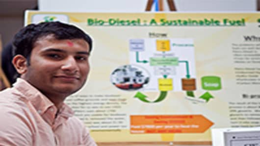 Sachin Patel (17), CEO, SW Biodiesel - uses grease from restaurants to turn into biodiesel.  (He powered his teacher's car with it!)