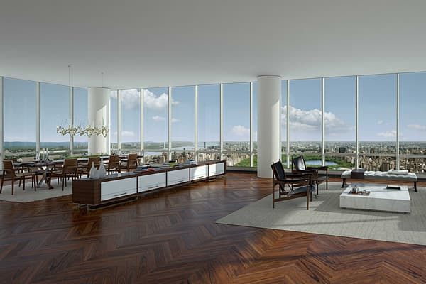 79th floor — Condo: $50,000,000 7 rooms, 4 beds, 4 baths; approx. 6,240 sq. ft.At more than 1,000 feet in height, One57 (as it's been dubbed by its developer, Extell) has bragging rights to being the tallest residential building in New York City — at least until 432 Park Avenue is completed.