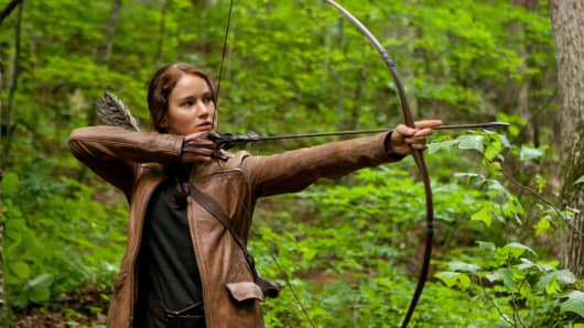 "Actress Jennifer Lawrence as Katniss Everdeen in ""The Hunger Games."""
