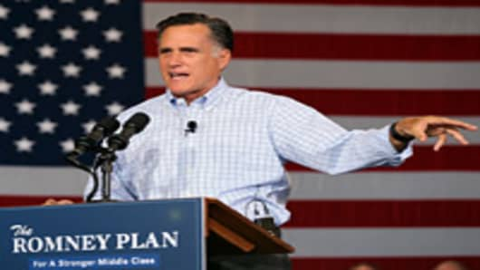Republican presidential candidate and former Massachusetts Gov. Mitt Romney during a campaign event with Republican Governors at Basalt Public High School on August 2, 2012 in Basalt, Colorado.