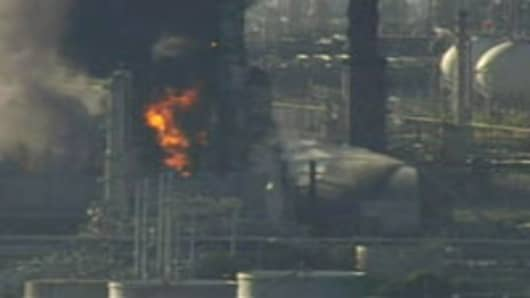 Fire at a Richmond refinery around the Bay Area owned by Chevron on August 6, 2012.