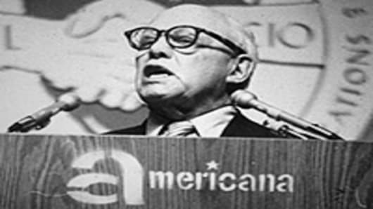 American Union leader George Meany (1894 - 1980), the President of the AFL-CIO.