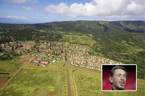 Owner: Larry EllisonPurchase Price: $500-$600 millionTech titan Larry Ellison's purchase of 98 percent of Hawaii's sixth largest island — Lanai — is considered among the most expensive in the world.Ellison — the third richest person in the U.S. and sixth richest in the world according to Forbes — bought Lanai in June from David Murdock,  the billionaire behind Dole Foods. The 141 square-mile island is known for its pineapple fields and is home to 3,000 people. Tourists visit the island for its t