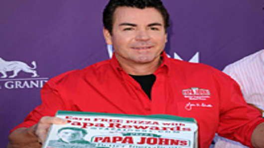 Papa Johns Pizza Founder John Schnatter arrives at the 47th Annual Academy Of Country Music Awards held at the MGM Grand Garden Arena on April 1, 2012 in Las Vegas, Nevada.