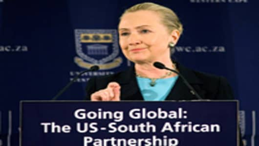 US Secretary of State Hillary Clinton delivers a speech on August 8, 2012 at the University of the Western Cape in Cape Town. Clinton urged South Africa to build on icon Nelson Mandela's legacy and flex its growing influence on the global sticking points of Syria, Iran and Zimbabwe.