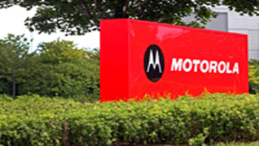 Motorola Mobility Holdings Inc. signage is displayed outside of the company's headquarters in Libertyville, Illinois, U.S.