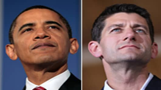 Barack Obama (L), Paul Ryan (R)