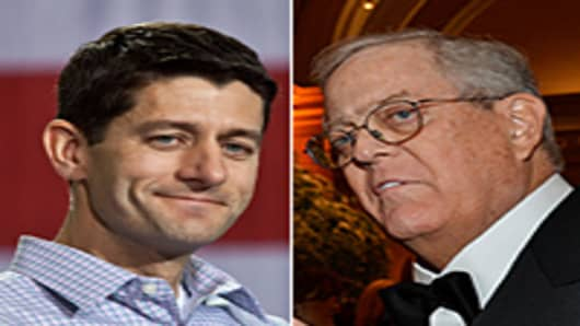 Paul Ryan (L), David Koch (R)