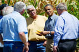 US President Barack Obama (2nd R) inpects drought stricken corn with US Secretary of Agriculture Tom Vilsack (R) and farmer Don McIntosh (C) and his brothers on the McIntosh farm in Missouri Valley, Iowa, on August 13, 2012.