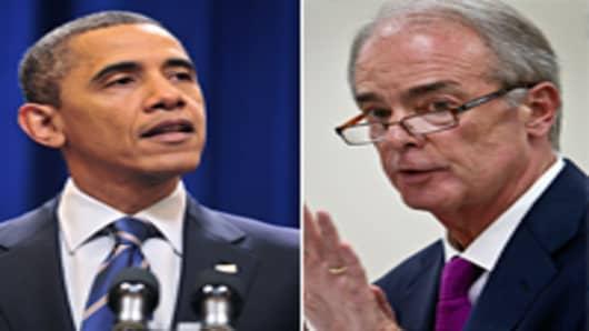 President Barack Obama (L), James E. Rogers (R)