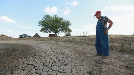 Marion Kujawa looks over a pond he uses to water the cattle on his farm on July 16, 2012 in Ashley, Illinois.
