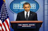 US President Barack Obama answers questions during the daily press briefing at the White House in Washington, DC, August 20, 2012.