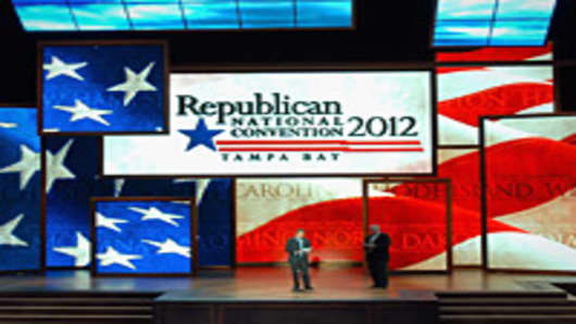 Republican National Committee Chairman Reince Priebus (L) and conention Chief Executive Officer William Harris (R) unveil the stage inside of the Tampa Bay Times Forum in preparation for the Republican National Convention on August 20, 2012 in Tampa, Florida.