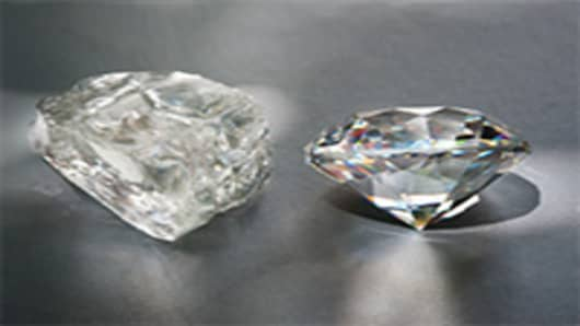 Rough cut diamonds