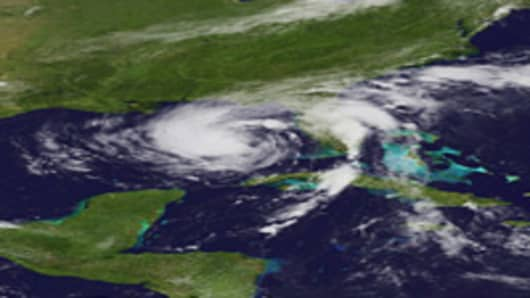 Tropical Storm Isaac moves toward the Florida coast on August 27, 2012 in the Atlantic Ocean. According to reports, Isaac, still rated as a tropical storm, is expected to strengthen into at least a Category 1 hurricane before making landfall August 29.
