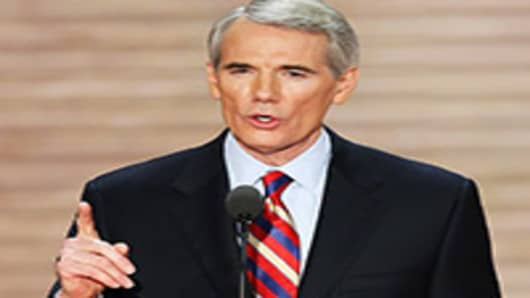 U.S. Sen. Rob Portman speaks during the third day of the Republican National Convention.