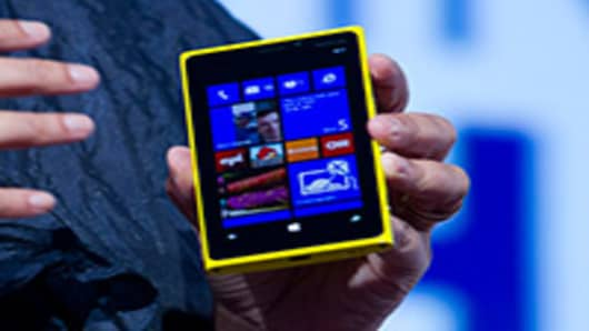 The new Nokia Lumia 920 is displayed during a news conference.