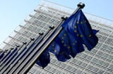European Union flags in front of European Commission headquarter in Brussels, Belgium.