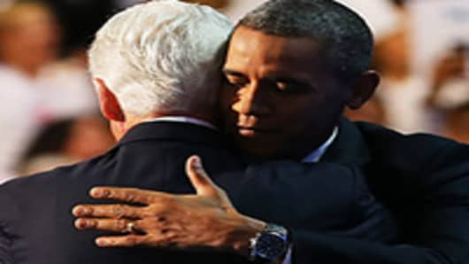 President Barack Obama joins Former President Bill Clinton at the Democratic National Convention.