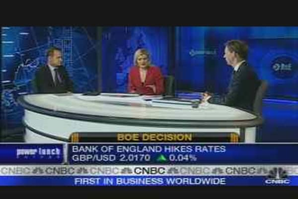 U.K. Rates Rise to 5.75%