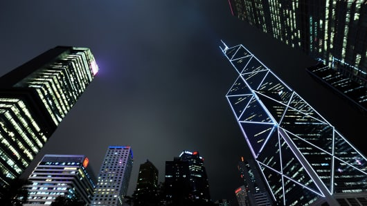 Hong Kong financial district.