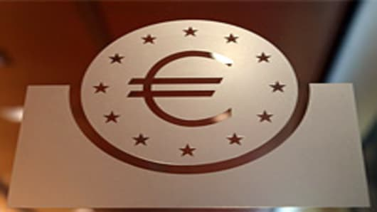 The logo of the European Central Bank (ECB) is displayed at the bank's headquarters in Frankfurt, Germany.