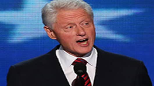 Former U.S. President Bill Clintonspeaks on stage during day two of the Democratic National Convention.