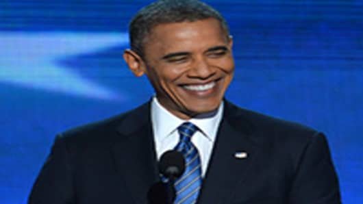 U.S. President Barack Obama delivers his acceptance speech to run for a second term as president.