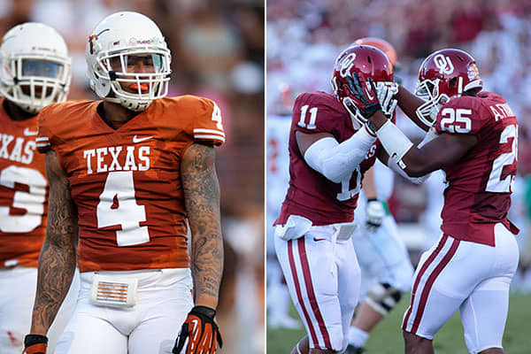 """Average ticket price: $657.98Date: Oct. 13One of the NCAA's greatest rivalries, the Red River Rivalry, pits the Longhorns against the Sooners each year on a neutral site. """"It's another Big 12 rivalry,"""" Matcovich says. """"A lot [of the appeal] has to do with the proximity of the two schools, that's where the demand is there."""""""