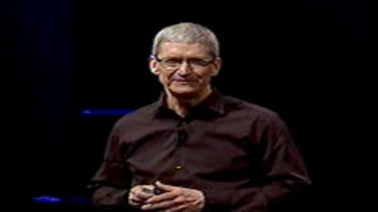 Tim Cook on stage at the Apple event.