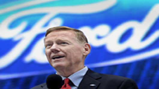 Alan Mulally, president and chief executive officer of Ford Motor Co., speaks during the unveiling of the Ford Fusion in New York, U.S., on Tuesday, Sept. 18, 2012. Mulally said he has no plans to retire from Ford Motor Co., the second-biggest U.S. automaker.