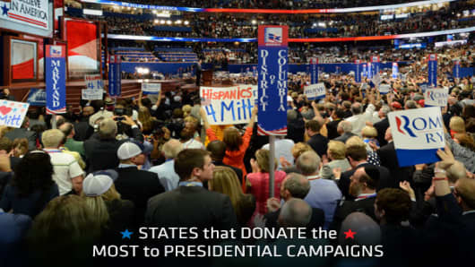 The states that donate the most money to presidential campaigns are among the largest and most populous in