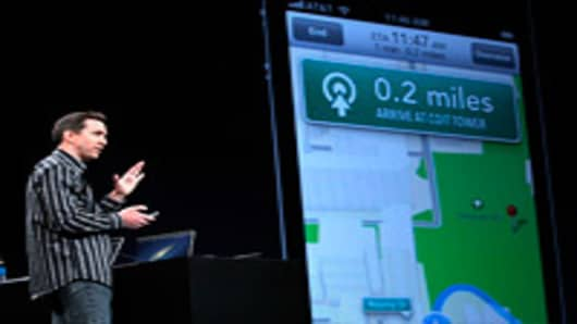 Apple Senior VP of iPhone Software Scott Forstall demonstrates the new map application featured on iOS 6 during the keynote address during the 2012 Apple WWDC keynote address at the Moscone Center.