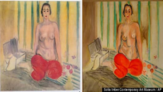 "The original painting by Henri Matisse titled ""Odalisque in Pants,"" left, is seen next to a fake version, that was on display in the Sofia Imber Contemporary Art Museum of Caracas, Venezuela. The museum bought it in 1981."