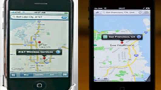 iPhone Google Map (L) and Apple's new mapping app (R).