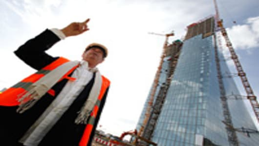 Austrian architect Wolf Prix of CooP Himmelblau gestures during a media tour of the the new European Central Bank (ECB) headquarters on September 20, 2012 in Frankfurt, Germany. The new, twin-tower headquarters is scheduled for completion by 2014.