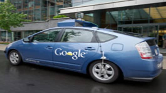 The Google self-driving car maneuvers through the streets of in Washington, DC May 14, 2012.