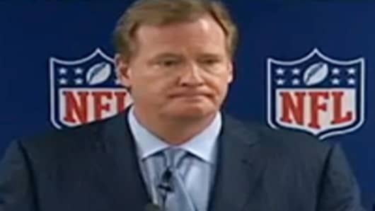 NFL Commissioner Roger Goodell holds news conference on labor pact with refs.