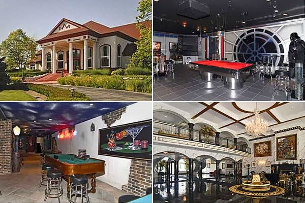 """Location: Carmel, Ind. Price: $5.5 millionBedrooms: 4Bathrooms: 6 full 1 halfSquare footage: 16,326This party palace, built in 1995 as a place to entertain up to 500 guests, boasts a ballroom, men's lounge with weaponry hung above the numerous urinals, and a ladies' room for multiple guests, and a cloak room with rotating rack. But safe home! The mansion has only four bedrooms.The  celebrates the """"Star Wars"""" movies with a themed bar silently policed by realistic life-size figures of Darth Vader"""