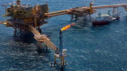 Gas is flared off from a Petroleos Mexicanos offshore platform producing oil from the Ku-Maloob-Zaap field in the Gulf of Mexico 65 miles northeast of Ciudad del Carmen, Mexico.