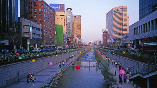 Cheonggyecheon Stream runs through an urban park in Seoul.