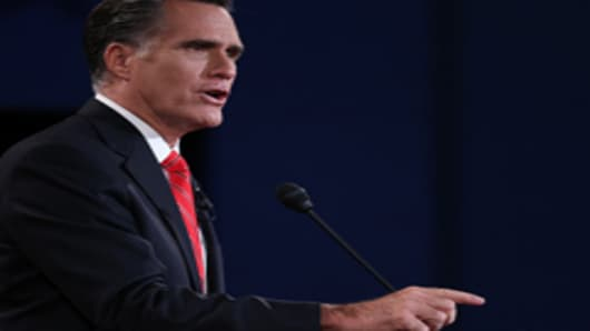 Republican presidential candidate, former Massachusetts Gov. Mitt Romney speaks during the Presidential Debate at the University of Denver on October 3, 2012 in Denver, Colorado.