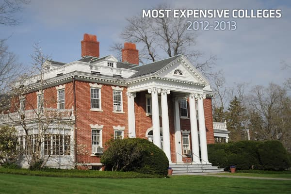 The college news publication  provides an annual ranking of the most expensive colleges in the country. According to their just-released report on the 2012-2013 academic year, the top 10 schools all have an average total cost of more than $55,000 per year.Total cost is defined as tuition, fees and room & board. The top school on the list costs more than $60,000 for an academic year, an unprecedented amount in the annals of higher education.Campus Grotto only includes required fees in their final tally, such as charges for student activities and facilities. It also only includes schools that offer bachelor's degrees in traditional 4-year undergraduate settings, so you won't see any junior colleges or conservatories on the list.Read ahead to see the 10 most expensive colleges for the 2012-2013 academic year, according to Campus Grotto.