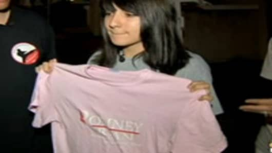 Samantha Pawlucy, showing her Romney/Ryan t-shirt.