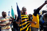 Striking mine workers demonstrate outside the Anglo American Mine in Rustenburg. South African.