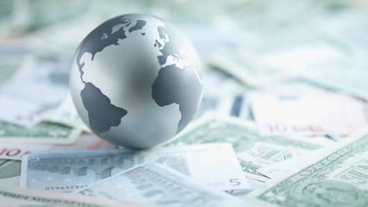 Global markets- globe on money