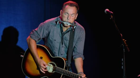 Bruce Springsteen performance during the 'Get Out The Vote' Event With Bill Clinton And Bruce Springsteen at Tri-C Western Campus Field House on October 18, 2012 in Parma, Ohio.