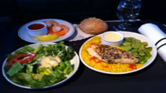 First Class meal on American Airlines