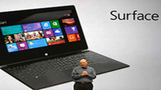 Steve Ballmer, chief executive officer of Microsoft Corp., speaks at a news conference launching the company's Surface tablet computer.