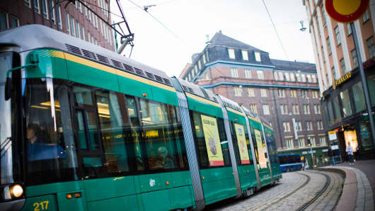 Tram in downtown Helsinki, Finland.